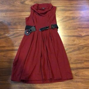 Deep red dress can be worn alone or with tights